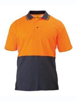 Bisley 2 Tone Hi Vis Polo Shirt Short Sleeve - Orange