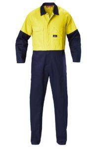 Hard Yakka Hi-Vis Two-Tone Cotton Drill Coverall - Yellow/Navy