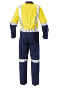 Hard Yakka Hi-Vis Two-Tone Cotton Drill Coverall with Reflective Tape - Yellow/Navy