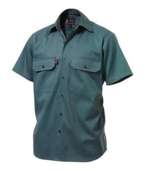 King Gee SS Open Front Drill Shirt - Bottle Green